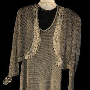 Evening gown by Diamonte Silver net (stretchy)